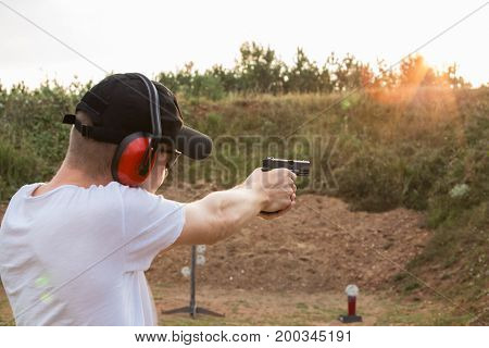 Special Force Training Military Camp Secret Service Agent Handsome Young Blonde Guy Strong Fire Shoo