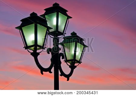 Closeup of a lanterns at sunset in landscape orientation