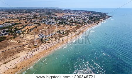 Panorama of Albufeira aerial in Algarve region, Portugal, Europe
