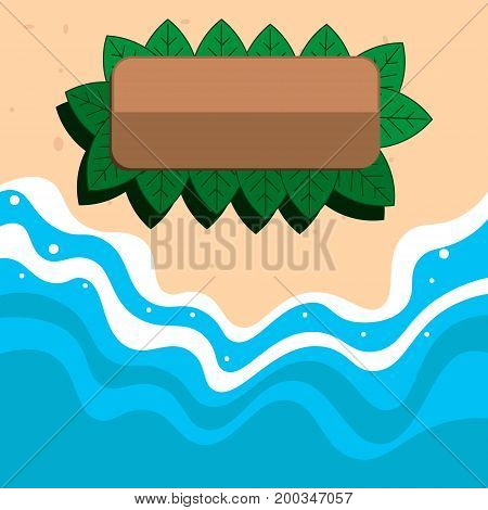 Summer is the beach. Bungalow on the beach. Flat design. Sea waves roll to the shore.