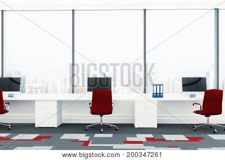 Open Office With Red Chairs, Front View