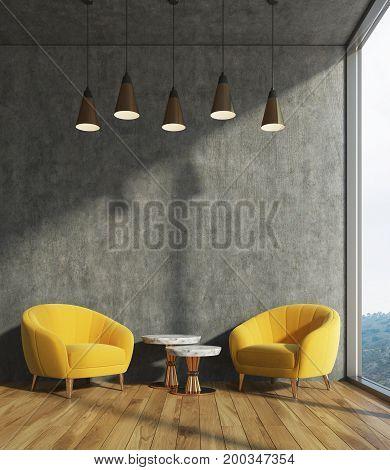 Concrete Living Room, Yellow Armchairs