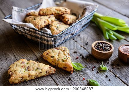 Scone triangles with cheese bacon and scallion