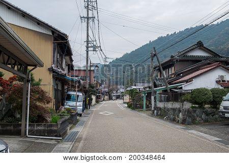 KUWANA-SHI , KUWANA, JAPAN - NOVEMBER 23, 2015: Typical small japanese town located in the Tado-cho area of the city of Kuwana in Mie Prefecture, Japan