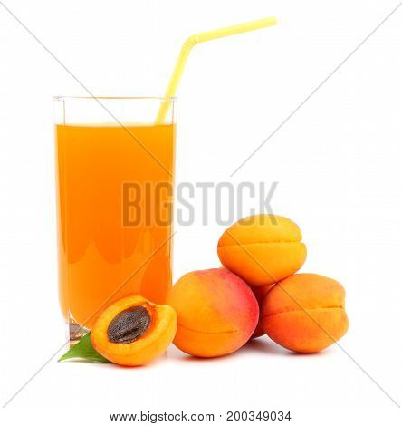 apricot juice isolated on a white background