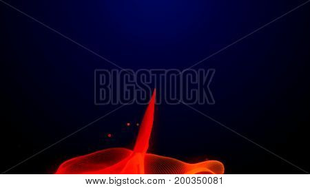 Vibrant colorful digital flame or cloth waving on a dark background - loopable animation