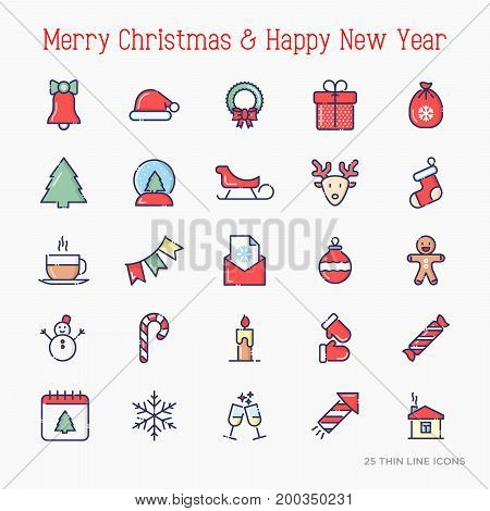Christmas and New Year celebration thin line icons set: decoration, deer, gifts, calendar, snowman, snow globe, sled, fir-tree. Vector illustration.