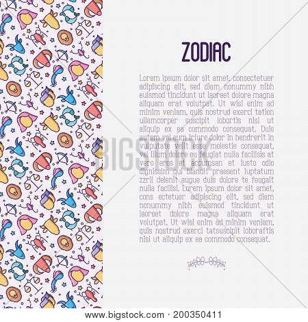 Zodiac signs concept with thin line icons for banner with horoscope, web site or background. Vector illustration.