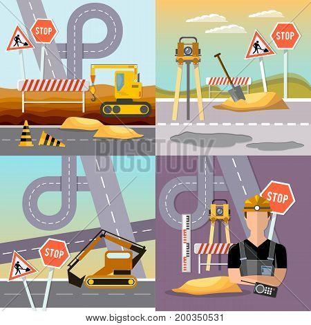 Road construction and road repair set. Repair is expensive in city. Road works construction and repair elements