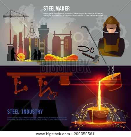 Steel industry banner iron and steel factory workshop. Steel worker. Metallurgy process. Hot steel pouring in steel plant. Smelting of metal in big foundry