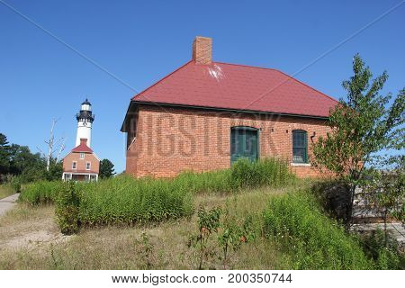 Foghorn and Au Sable Lighthouse, Pictured Rocks National Lakeshore, Upper Peninsula of Michigan