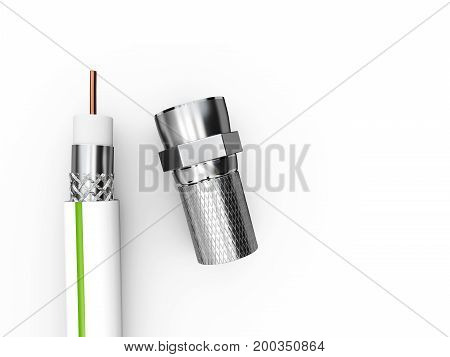 3D Illustration Of The Coaxial Tv Cable Structure With Plug