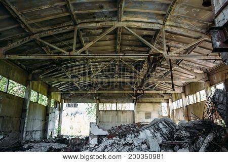 Abandoned factory, inside large workshop, abandoned warehouse