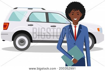 Detailed illustration of automobile and african american businesswoman on white background in flat style.