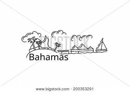 The Bahamas card. Vector in color. Postcard for the flyer or mocap. Complimentary ticket.