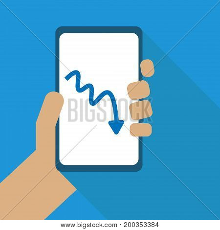 Vector illustration. Flat design. Declining a graph.