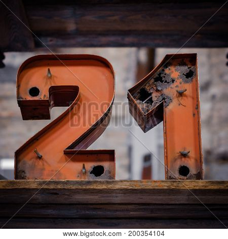 21 - Old Neon Light Numbers - Vintage Typography