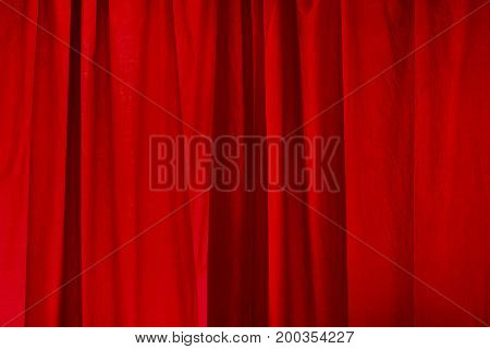 Decorative elegant red curtain background, scarlet drapery