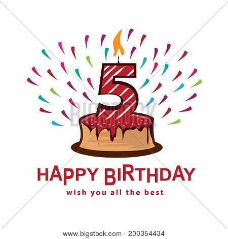 playful birthday illustration, cake with number five, illustration design, isolated on white background