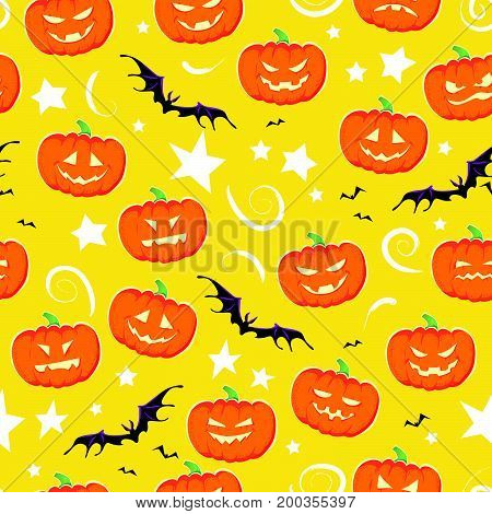 Vector cartoon seamless Halloween pattern design with magic elements isolated - spooky pumpkin, stars, flying bats on yellow background. Good for packaging design, advertisement backdrop.
