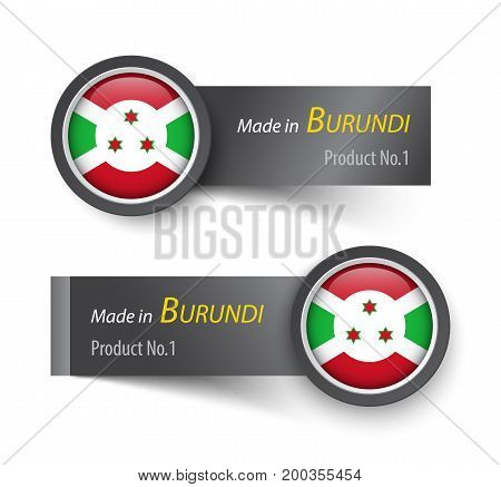 Flag Icon And Label With Text Made In Burundi