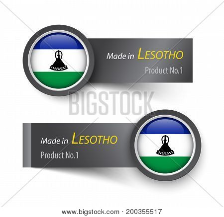 Flag Icon And Label With Text Made In Lesotho
