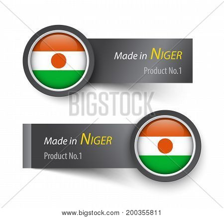Flag Icon And Label With Text Made In Niger