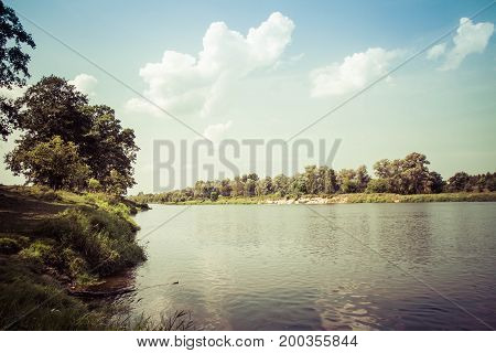 Landscape view of The Bug River, Poland