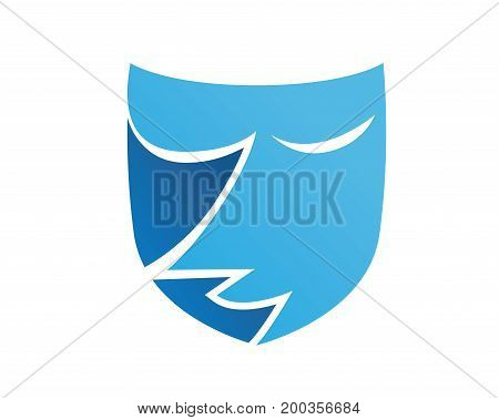 Abstract Blue Female Face Mask Logo Illustration