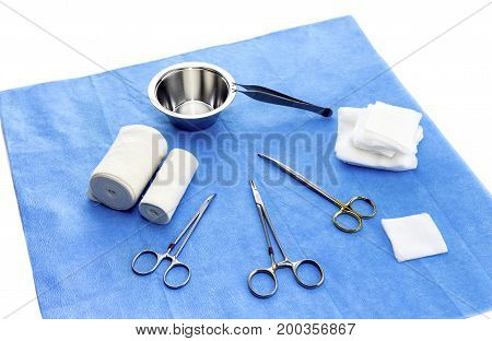 A set of new surgical tools on a white background closeup