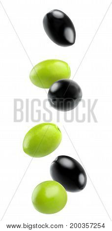 Isolated Falling Olives