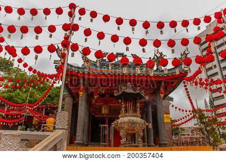 Tua Pek Kong Chinese Temple In Chinatown. Kuching, Sarawak. Malaysia. Borneo
