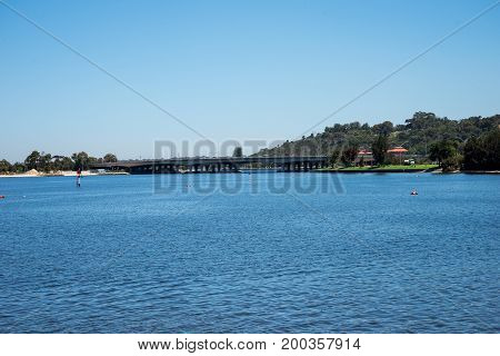 A View Of Perth City Bridge Across Swan River From Perth Cbd To South Perth