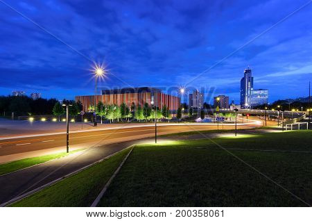 Beautiful evening streets in Katowice. Polish. Europe.