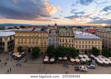 Krakow cityscape. Day photo in Poland. Europe.