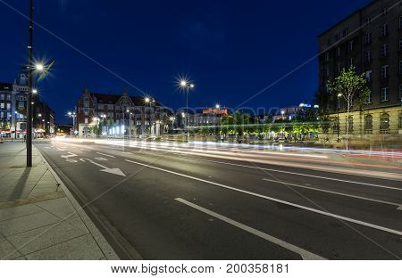 One of the central streets of Katowice after sunset. Poland. Europe.