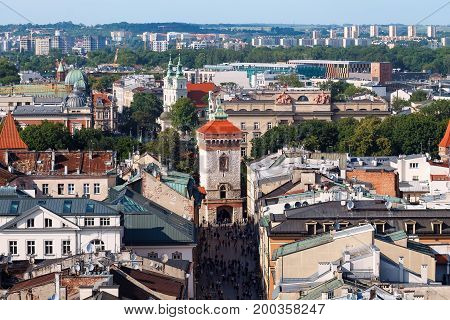 City view of Krakow with roofs and the church. Krakow. Day photo.