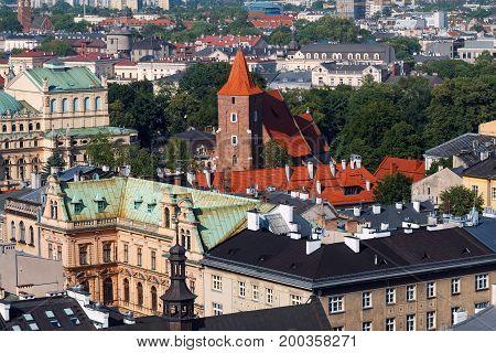 Krakow cityscape with church. Day photo. Poland.