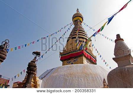 Swayambhunath Temple In Kathmandu, Its An Ancient Religious Architecture Atop A Hill In The Kathmand