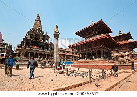 Kathmandu, Nepal - March 09, 2013: People Walking At Kathmandu Durbar Square. Durbar Square Is The G