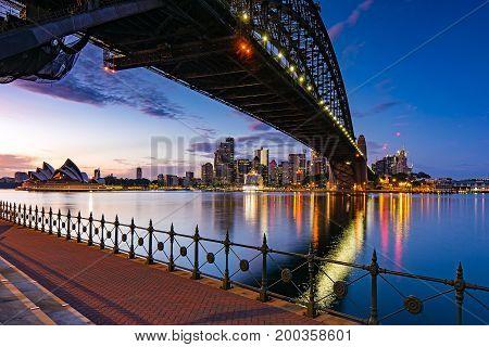 Sydney skyline and harbor bridge during sunrise, New South Wales Australia