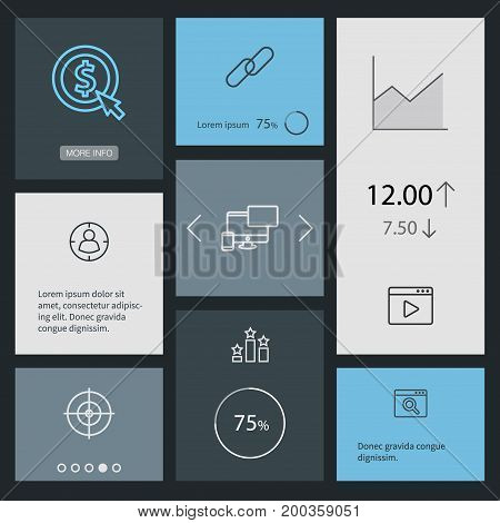 Collection Of Targeting, Columns, Cost Per And Other Elements.  Set Of 8 Search Outline Icons Set.