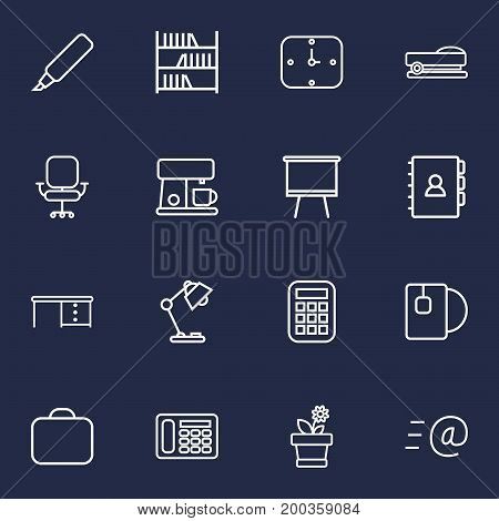 Collection Of Telephone, Staple, Bookshelf And Other Elements.  Set Of 16 Bureau Outline Icons Set.