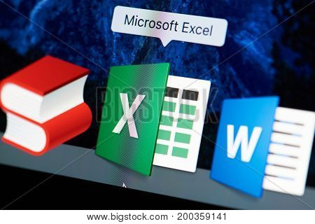 New york, USA - August 18, 2017: Microsoft excel icon on laptop screen close-up. Microsoft excel starting application