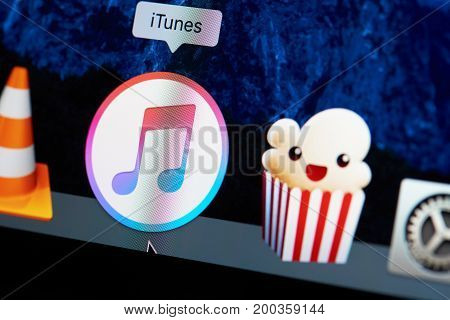 New york, USA - August 18, 2017: Itunes application icon on laptop screen close-up. Starting itunes app