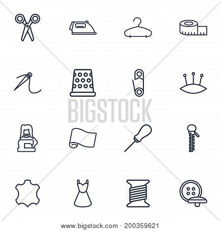 Collection Of Iron, Scissors, Awl And Other Elements.  Set Of 16 Sewing Outline Icons Set.