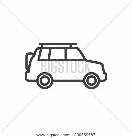Vector Suv Element In Trendy Style.  Isolated Hatchback Outline Symbol On Clean Background.