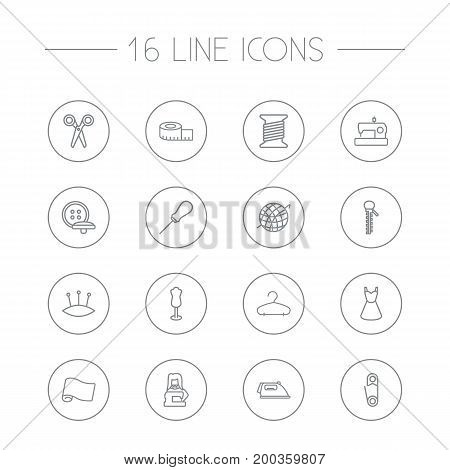 Collection Of Safety Pin, Pincushion, Buttons And Other Elements.  Set Of 16 Stitch Outline Icons Set.
