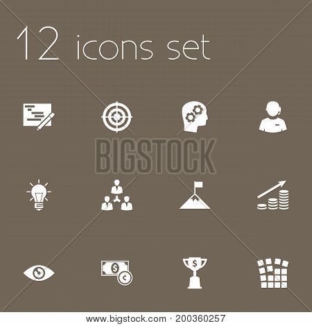 Collection Of Unity, Goblet, Achievement And Other Elements.  Set Of 12 Business Icons Set.