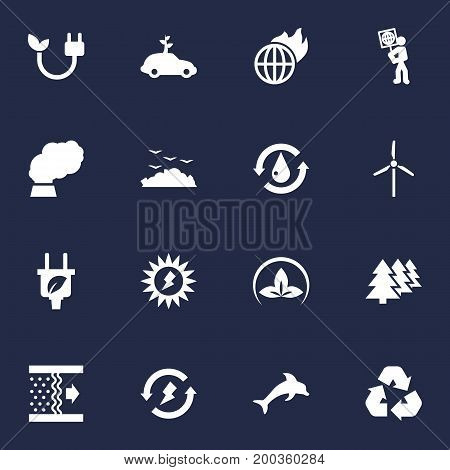Collection Of Renewable, Rubbish, Purification And Other Elements.  Set Of 16 Bio Icons Set.